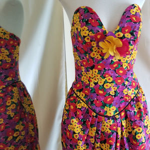 Victor Costa Vintage 1980s Strapless Floral Dress